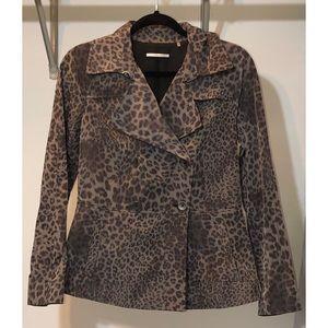 T Tahari leopard Trench Coat
